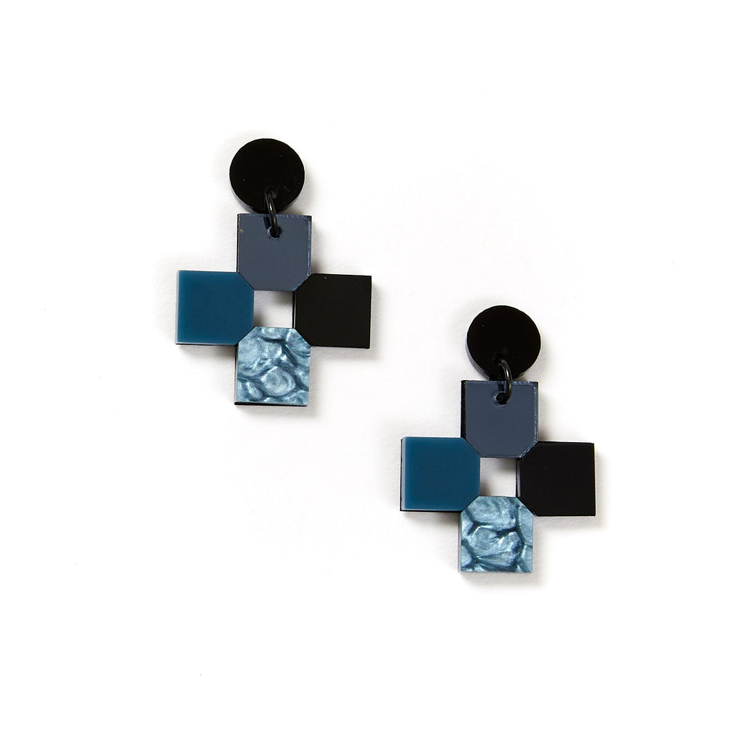 Cross Earrings - Storm Grey