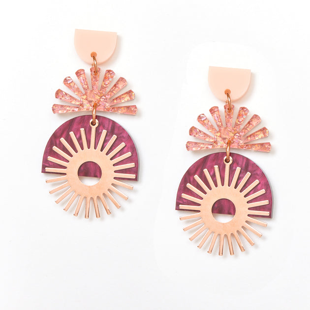 Sunset Earrings - Pink / Burgundy