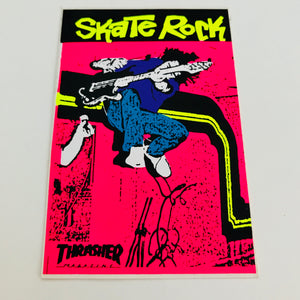 Vintage skateboard Thrasher Magazine Skate Rock neon sticker