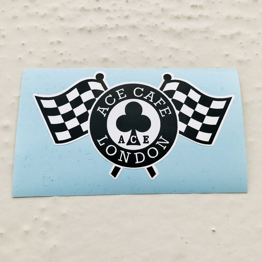 Classic Ace Café London Checkered Flags Logo Sticker