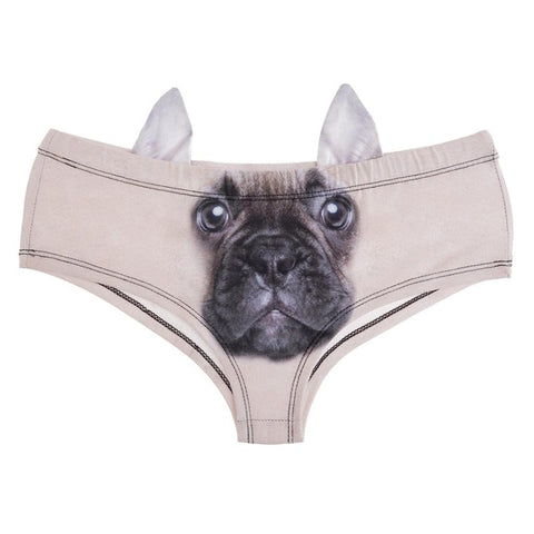 3D French Bulldog with Ear Printed Panties Underwear