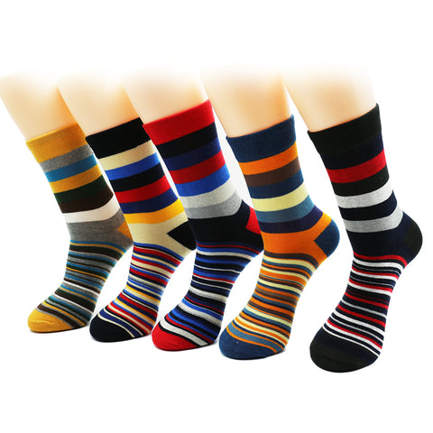 5 Pairs Unisex Colorful Stripes Socks