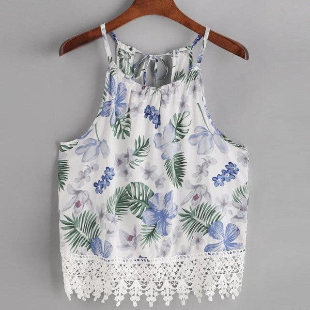 Flower Printed Crop Sleeveless Lace Tops