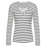 Women Stripe Long Sleeve V-neck Bandage Decoration Casual Tops