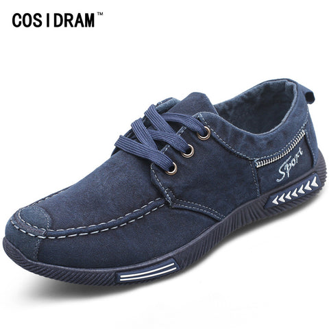 COSIDRAM Canvas Men Shoes Denim Lace-Up Men Casual Shoes New 2018 Plimsolls Breathable Male Footwear Spring Autumn RME-252
