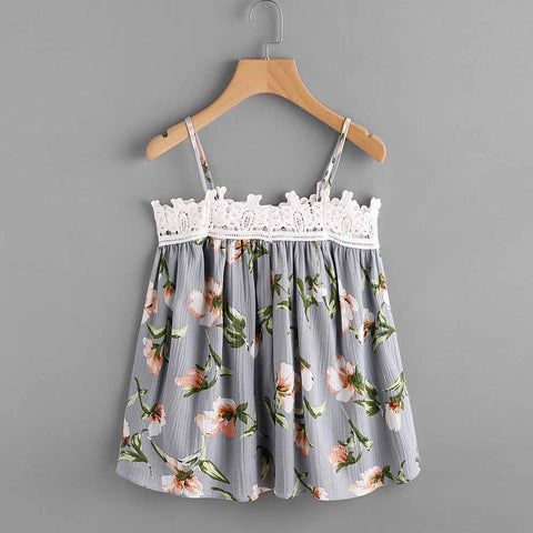 Summer Bralette Crop Top Women Floral Printed Sleeveless Top