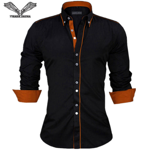 Men Shirts New Arrivals Slim Fit Shirt Solid Long Sleeve British Style Cotton