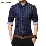 Men Long Sleeve Shirt Plaid Cotton Casual Men Shirt