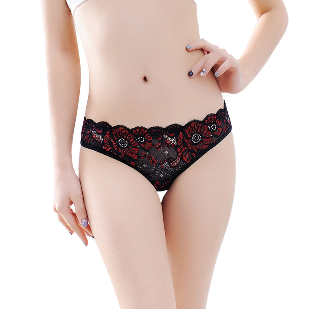 Low-Rise Women Sexy Lace Lady Panties Seamless Breathable Panty Hollow Briefs