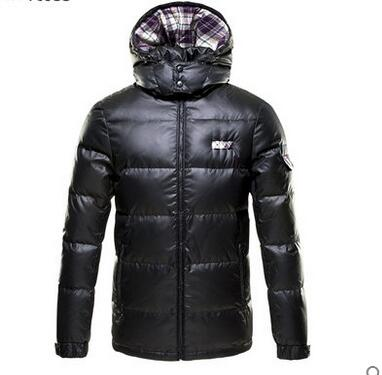 Markless 2018 Men's Thick Down Jackets Casual Spliced Hooded Winter Outerwear