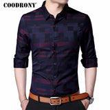 COODRONY Men Shirt Mens Business Casual Shirts 2018 New Arrival Men Famous Brand Clothing Plaid Long Sleeve