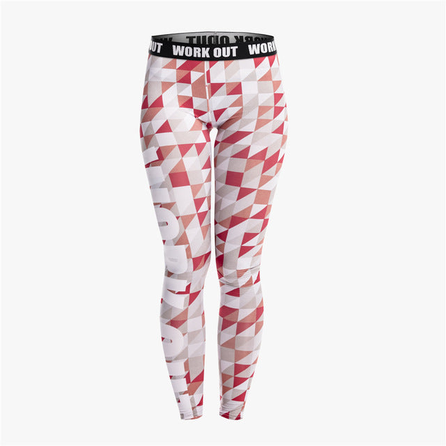 Gray Red Triangle Fitness Legging