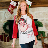 Christmas Women Lace Long Sleeve Santa Letters Shirt Blouse Tops