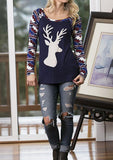 Women Elk Long Sleeve Geometric Printed Splicing T-Shirt