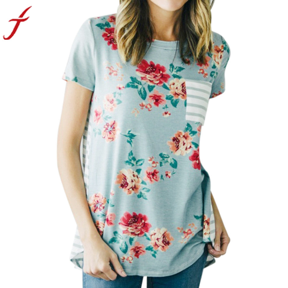 Short Sleeve Flower Printed T-Shirt Casual O-Neck