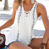 Print V-Neck Sleeveless Straps Vest Shirt Beach wear