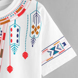 Short Sleeve Geometry Printed Blusa Tops Patchwork t-shirt