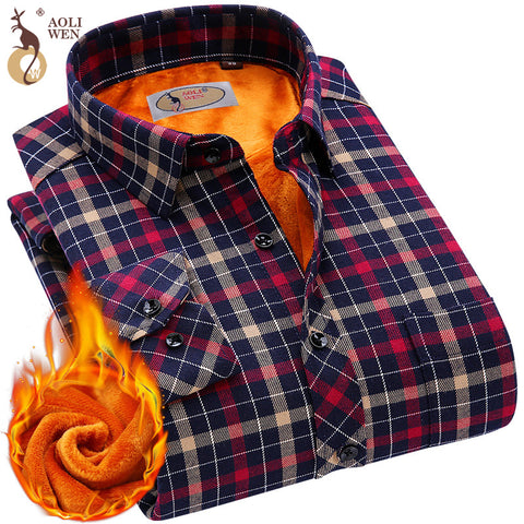 2018 Fashion Men's Winter Warm Plush Slim Shirts Striped Plaid Print