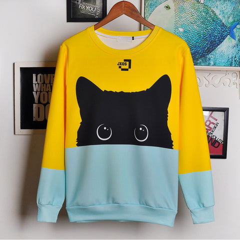 Alisister Cute Black Cat Sweatshirt Women Men Kawaii Long Sleeve