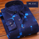 Autumn and winter plus velvet thick printed plaid warm men's long-sleeved shirt casual non-ironing young shirt cotton