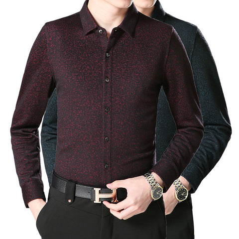 winter 2017 new men business shirt Middle-aged men with wool shirt warm men's clothing wholesale