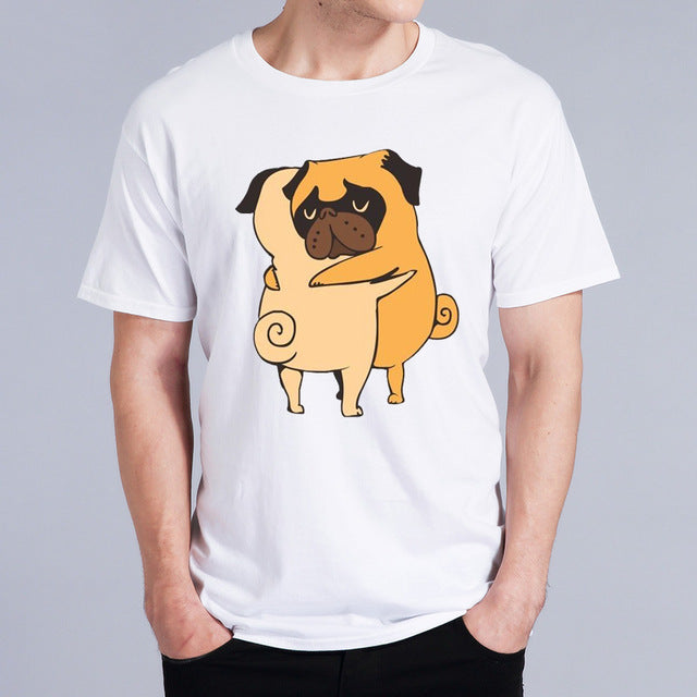 Men's Fashion Pug Hug New Fashion 2018 Mens T Shirt T-shirt Male Top Funny Tshirt White Tops Tees