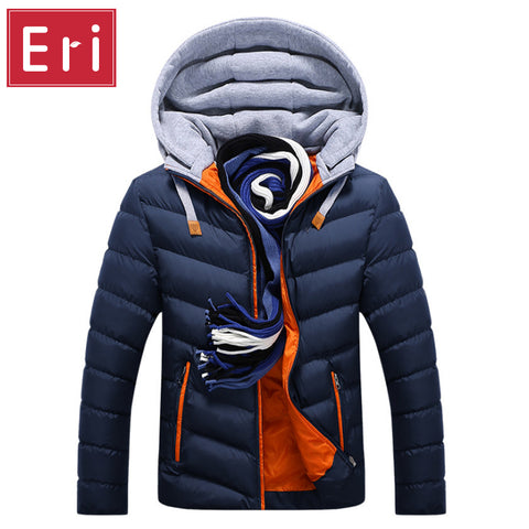 Men Winter Jacket Hat Detachable Warm Coat Cotton-Padded Outwear