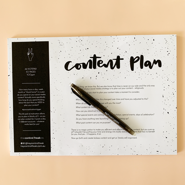 """Content Plan"" A4 Notepad"