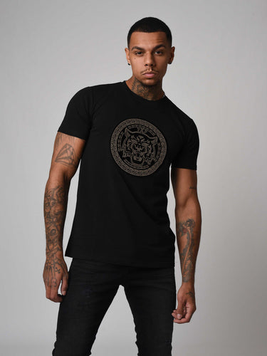 Project X Gold Rhinestoine Detail T-Shirt - Black
