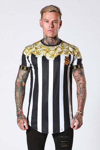 Sinners Attire Gold Rose Garland T-Shirt - Stripe