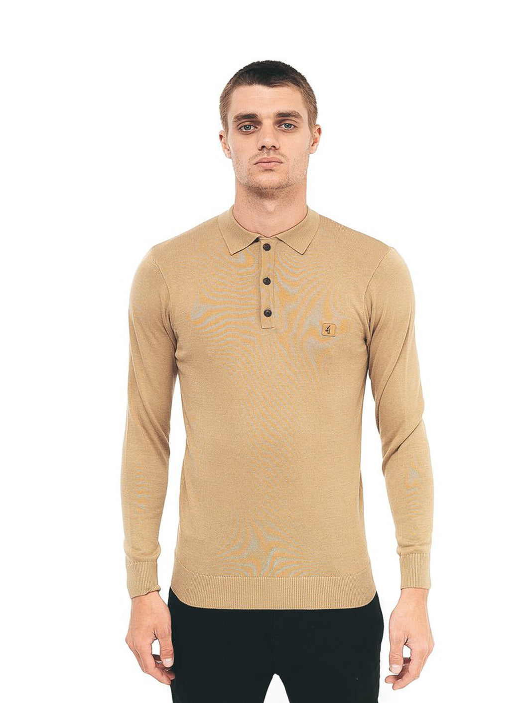Gabicci Knitted 3 Button LS Polo Shirt - Fawn
