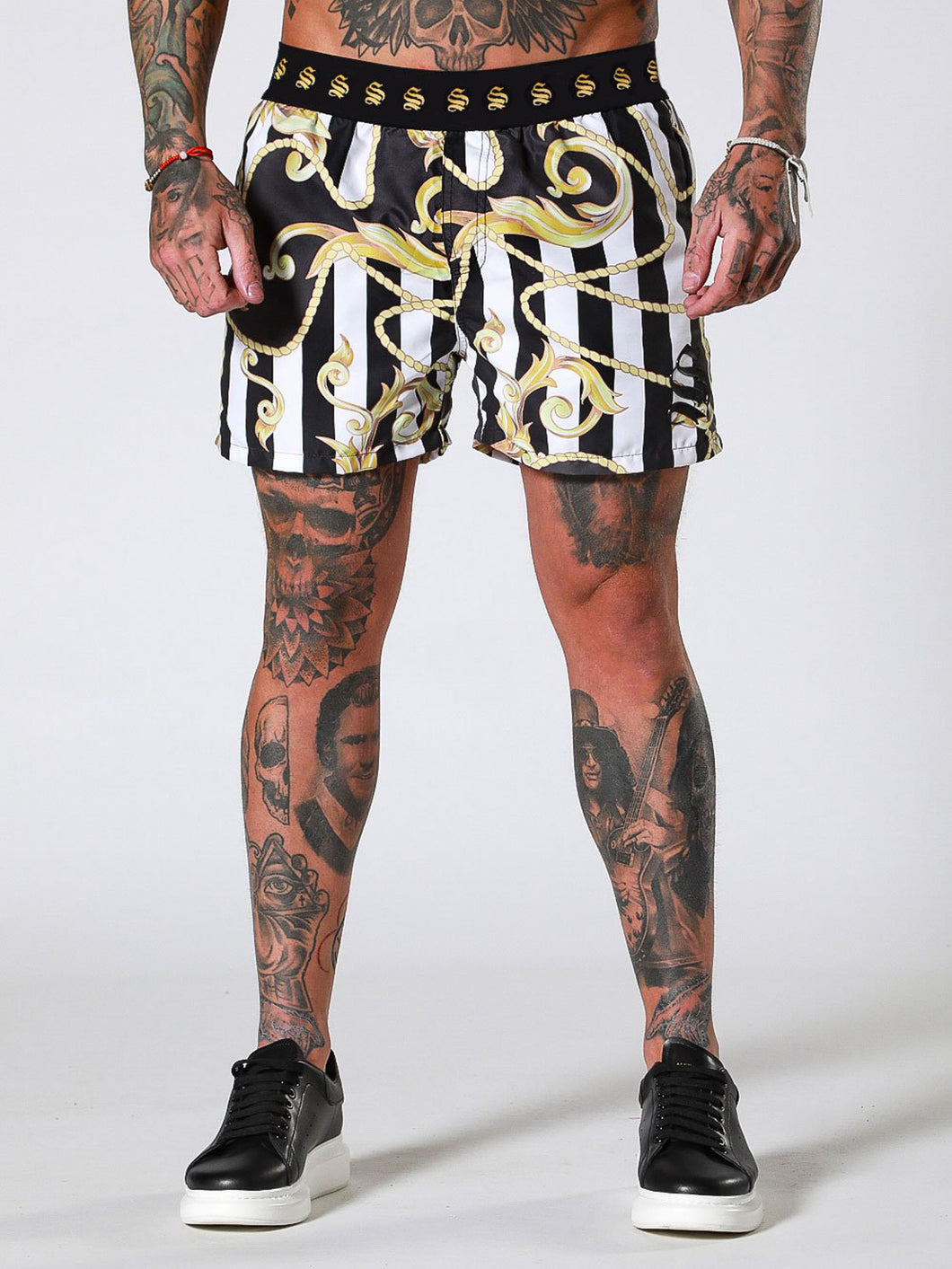 Sinners Attire Swim Shorts - Baroque Stripe