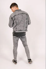 Liquor & Poker Jaden Oversized Distressed Denim Jacket - Acid Wash Grey