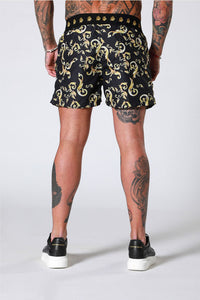 Sinners Attire Gold Baroque Swim Shorts - Black