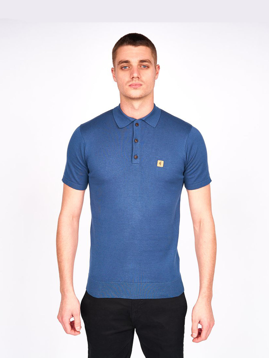 Gabicci Knitted 3 Button SS Polo Shirt - Blue