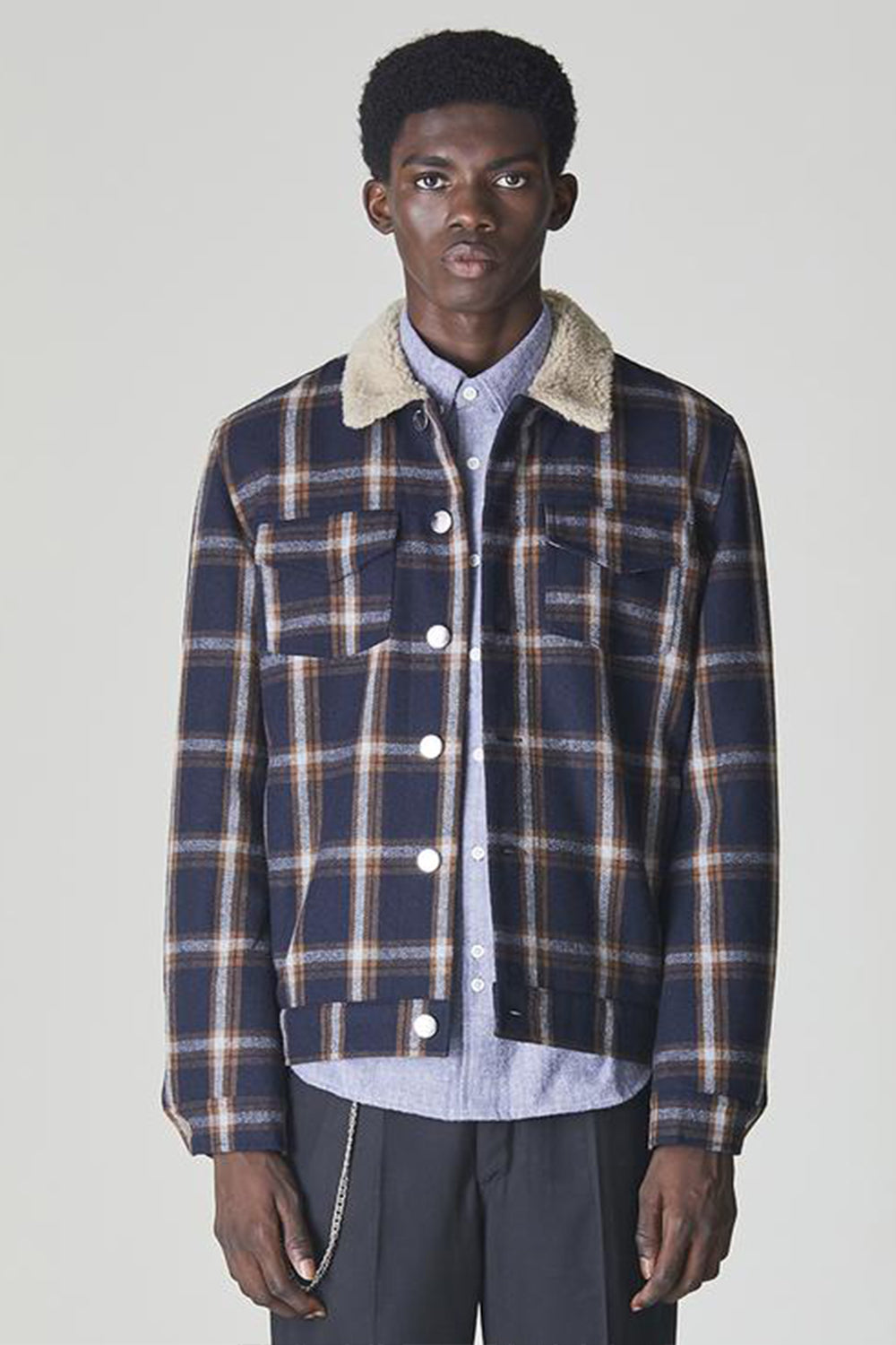 Bellfield Alas Sherpa Collared Jacket - Navy / Ginger Check