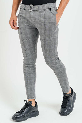 President's Club Check Belt Trousers - Grey