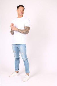 Liquor & Poker Logan Super Skinny Distressed Jeans - Light Wash