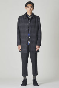 Bellfield Troupe Overcoat - Black / Charcoal Check