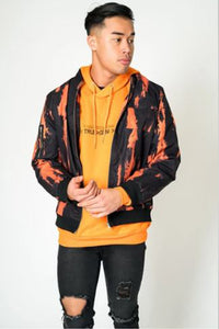 Liquor & Poker Tie Dye Bomber Jacket - Orange