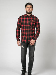 Religion Salvation Check Shirt - Red / Black