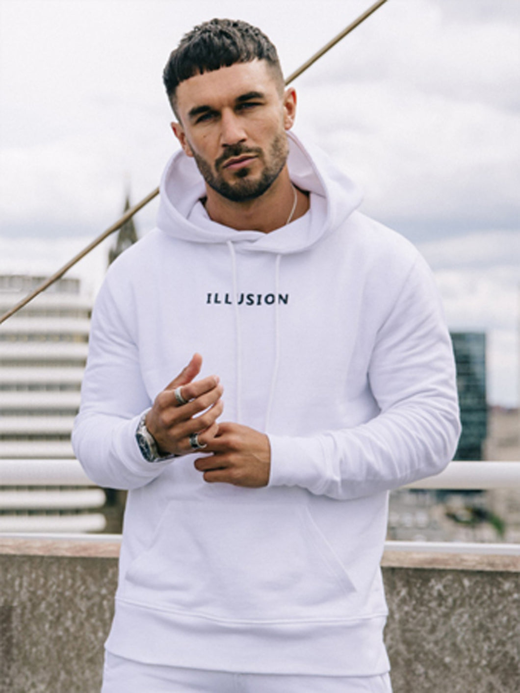 Illusion Logo Hoody - White