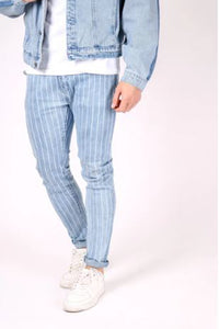 Liquor & Poker Logan Super Skinny Pinstripe Jeans - Light Wash