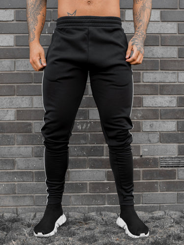 Project X Contrast Logo Stripe Joggers - Black