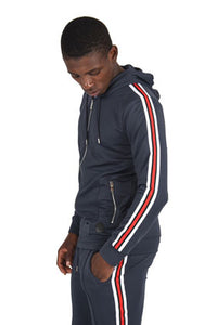 Project X Striped Track Top - Navy
