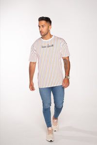 Vox Gente Oversized Stripe T-Shirt - Orange / Navy