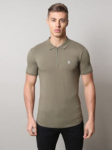 Life & Limb SS Stretch Zip Polo - Khaki