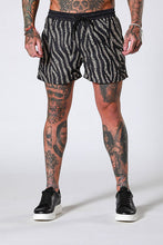 Sinners Attire Zebra Leopard Swim Shorts - Black