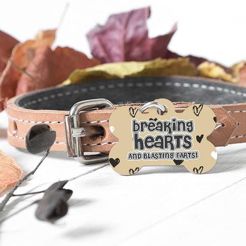 "Image of ▶ Custom Dog Bone Pet Tag ""Breaking Hearts Blasting Farts"""
