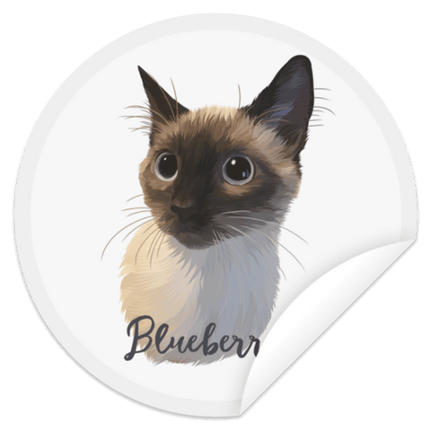 ▶ Custom Circle Sticker (Single Pet)
